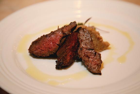 Chimichurri Marinated Certified Angus Beef Brand Hanger Steak & Puree of Roasted Cauliflower