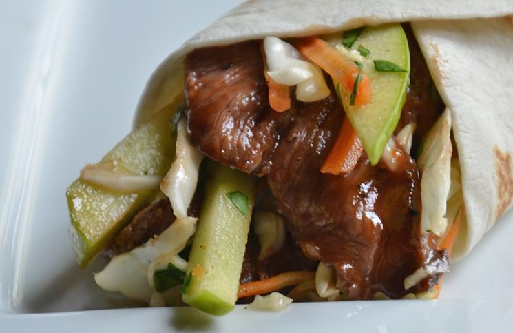 BBQ Steak Wraps with Apple Cider Slaw