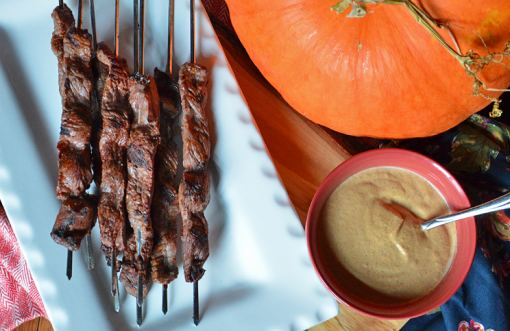 Steak Satays with Pumpkin Aioli