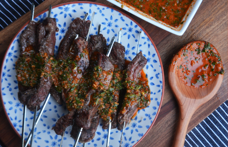 Grilled Flank Steak Skewers with Red Chimichurri