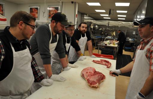 Team Sawyer visits the Meat Lab L-R (Brian Goodman, Fred Sandoval, Vinnie Cimino, David Kocab)