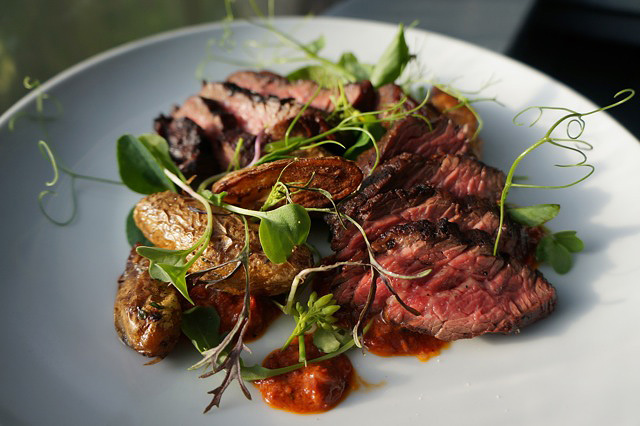 Hanger Steak with Blackberry Romesco