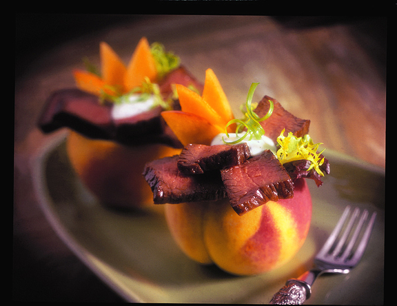 Sirloin peach salad