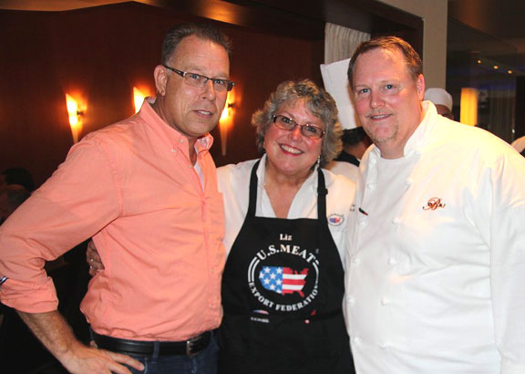 Govert van der Hout of Arion Wine Company, Liz Wunderlich of USMEF and Chef Scott Neuman in Aruba.