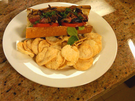 Chef Keoni Chang's easy flank steak sandwich