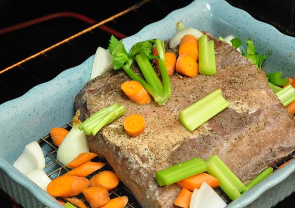 Prime Rib Roast with vegetables