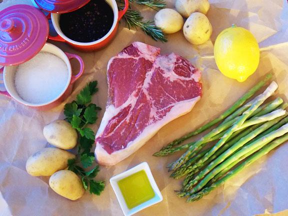 Making porterhouse steak for two - Happy Valentine's Day!