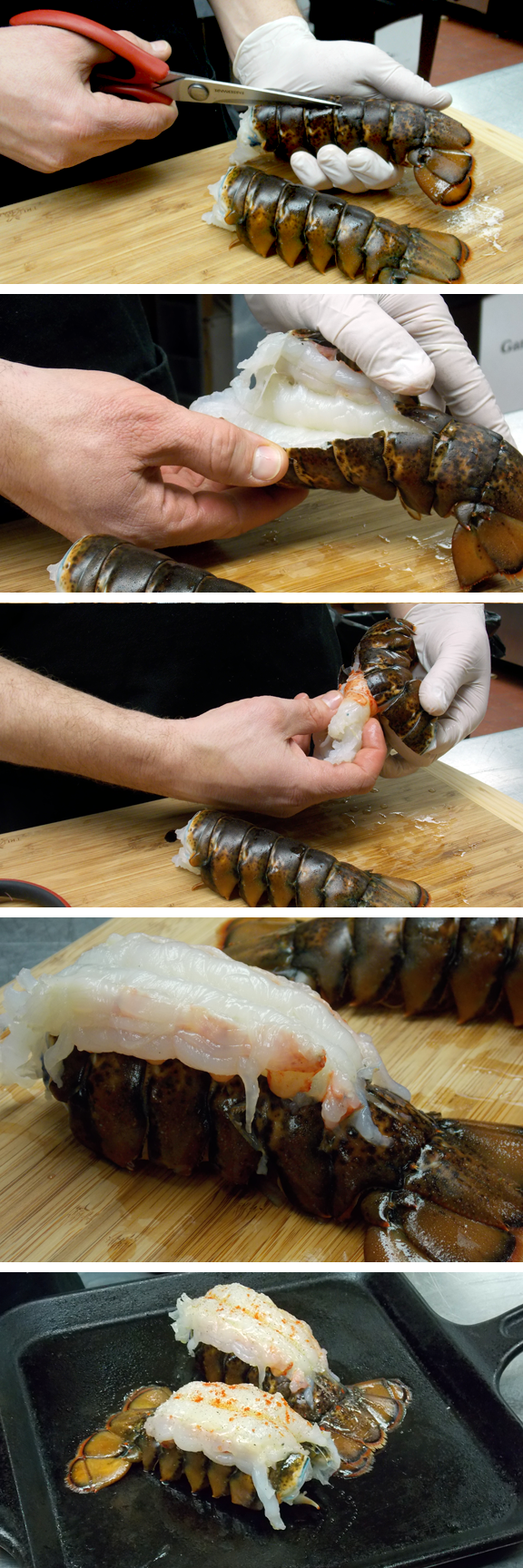 Steps for preparing lobster tail