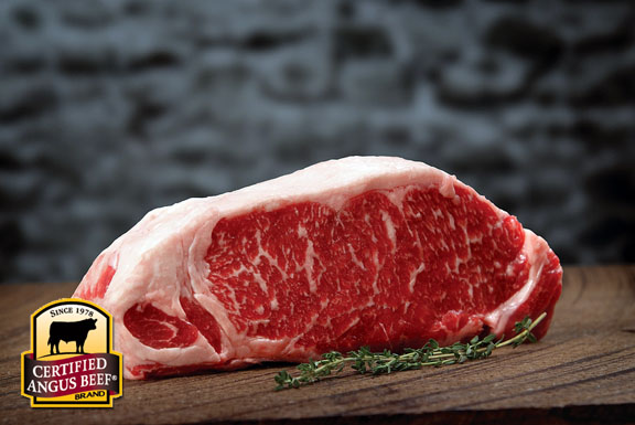 Prime Strip Steak with premium marbling