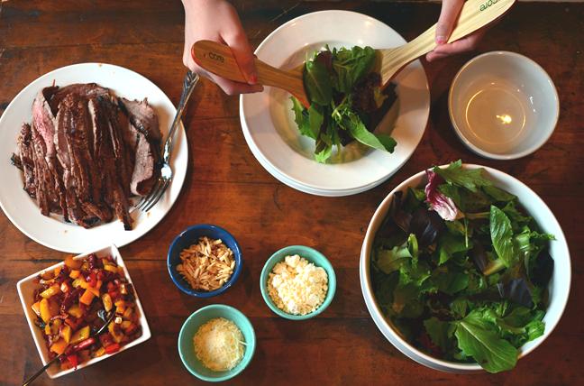 Steak salad assembly