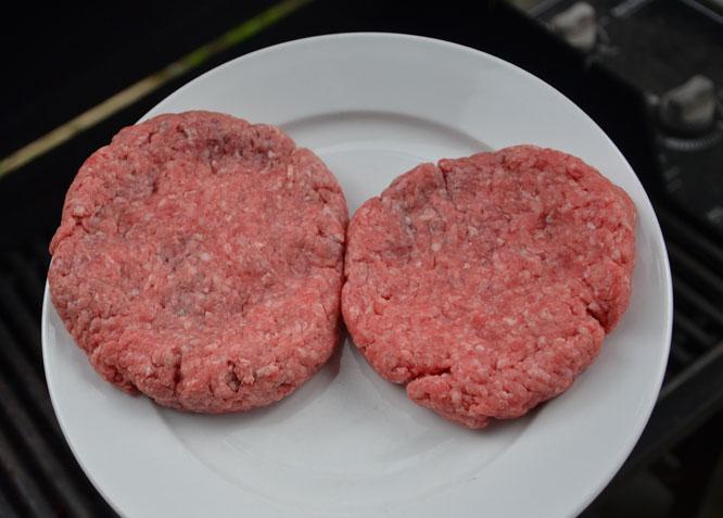 Handmade burger patties for grilling