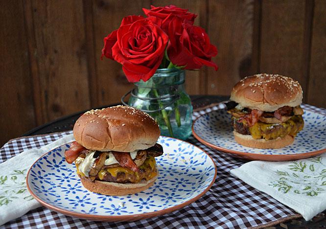 Mushroom Cheddar Bacon Burger