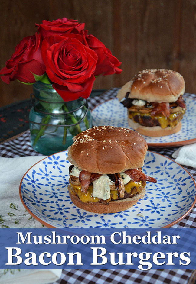 Mushroom Cheddar Bacon Burgers