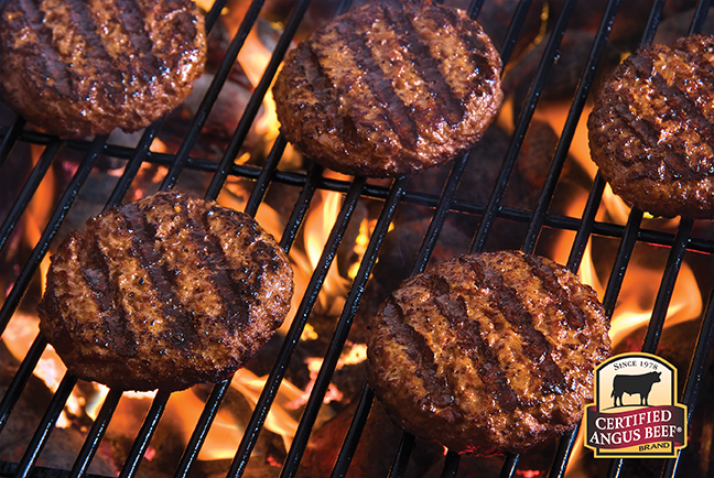 Burgers on the grill.