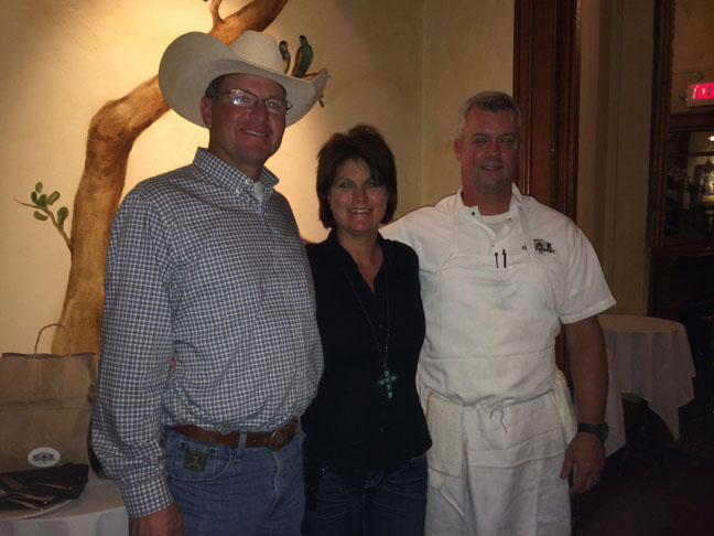 Chef Jeremiah Bacon of Oak Steakhouse in Charleston, S.C., with Kevin & Lydia Yon of Yon Angus Farm