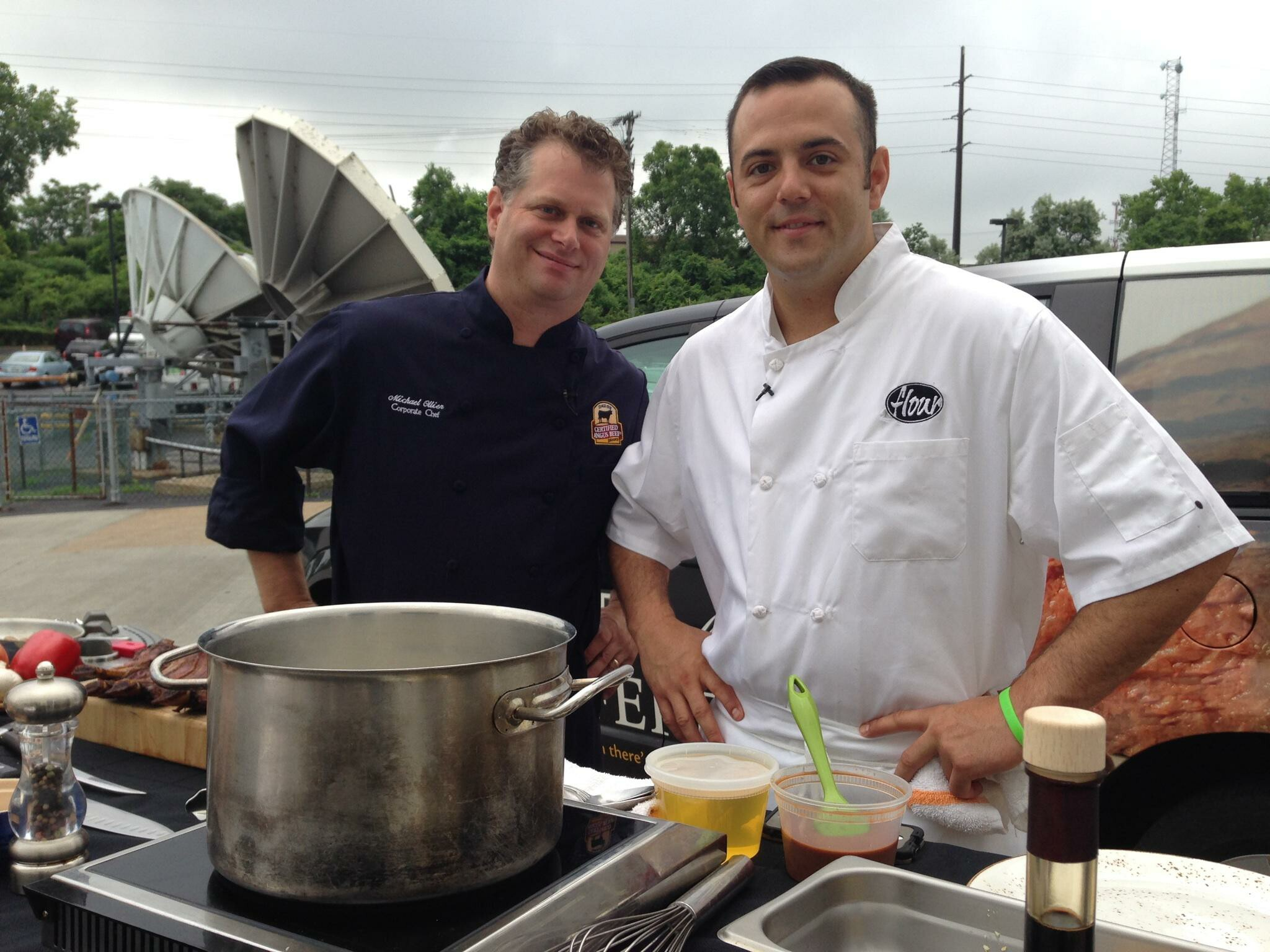 Chef Michael Ollier from Certified Angus Beef (left) and Chef Matt Mytro of Flour restaurant (right) grilling on Fox8 Cleveland.