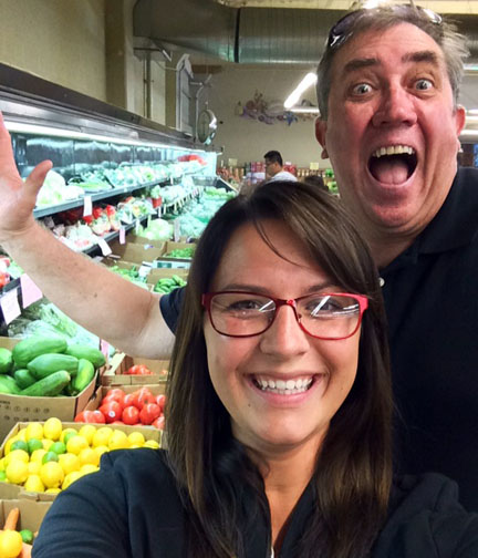 Chefs Tony Biggs and Ashley Pado, shopping at Cleveland's West Side Market.