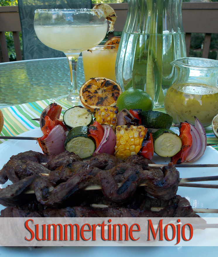 Mojo skewers and fruity cocktails