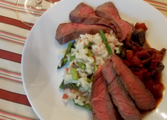 Steak and Asparagus Risotto with Red Wine Sauce