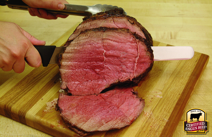 Always slice beef against the grain. Allow the meat to rest, first.