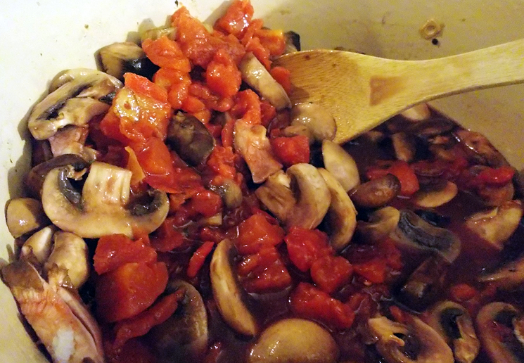 Wine, tomato and mushroom ragout