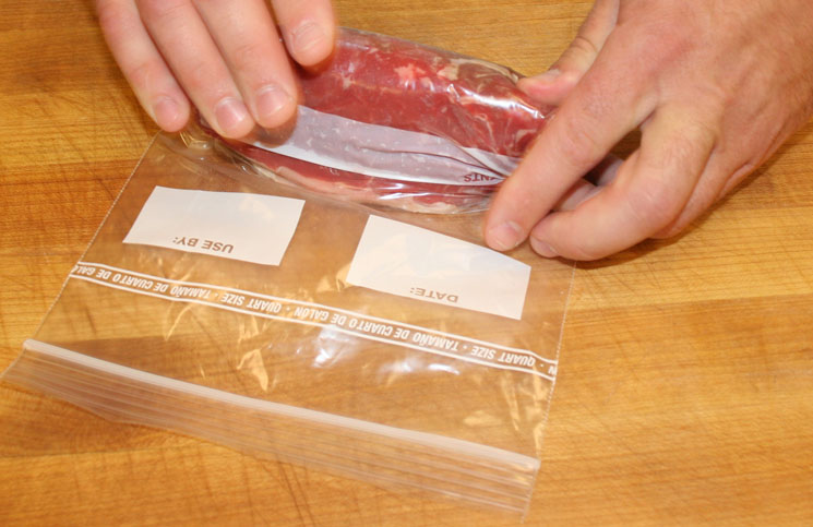 Properly seal cuts of beef in a zipper locking bag for freezing.