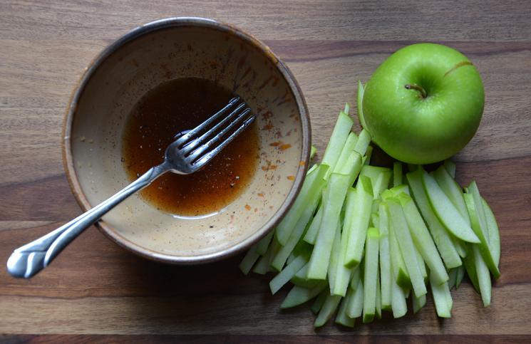 Matchstick apples for cider slaw