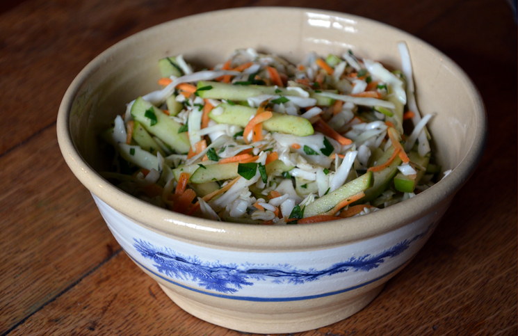 Apple cider slaw for flat iron steak wraps.