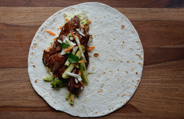 BBQ Steak Wraps with Cider Slaw
