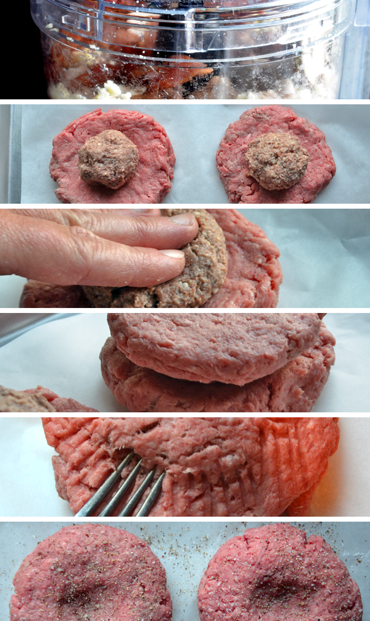 How to stuff a burger before grilling.