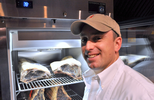 Dr. Phil Bass and his dry aging cooler.
