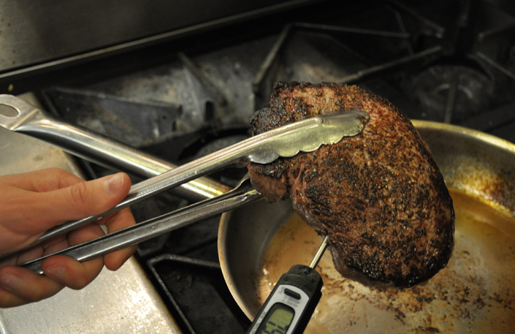 How to check for temperature in a steak.