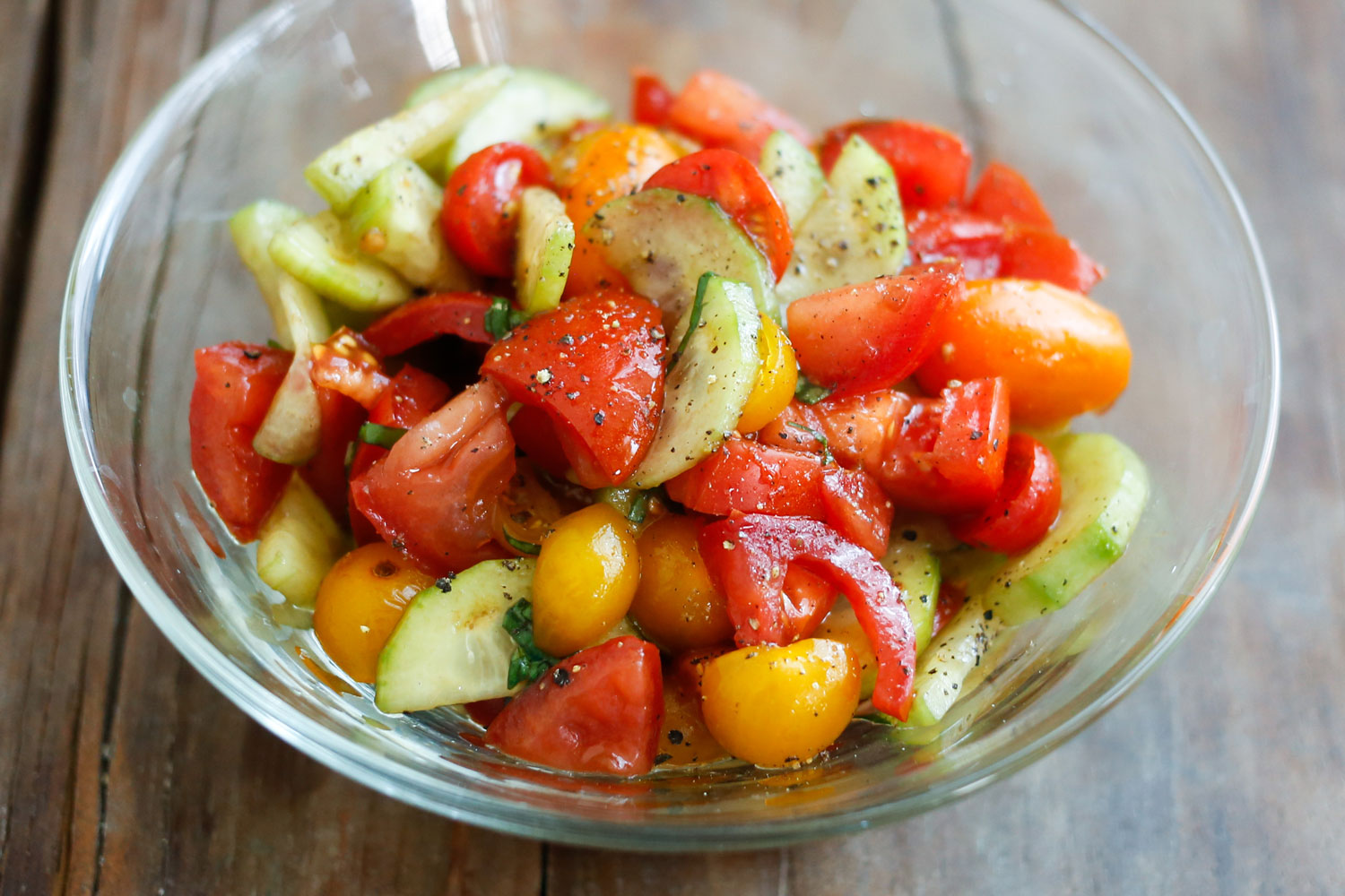 Tomato Cucumber Salad from Barefeet In the Kitchen