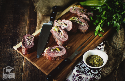 Hatch Chile Flank Steak Pinwheels