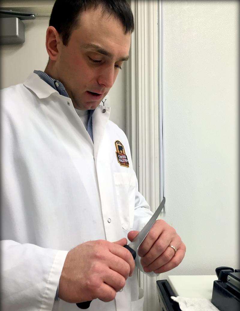 Dr. Phil Bass talks knife sharpening skills.