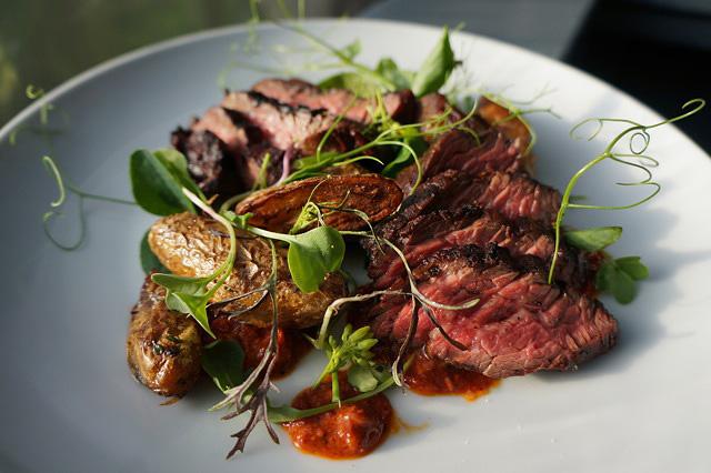 Hanger Steak with Blackberry Romesco