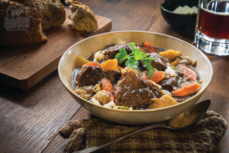 Irish Stew with hearty vegetables, Guinness and apple butter for sweetness.