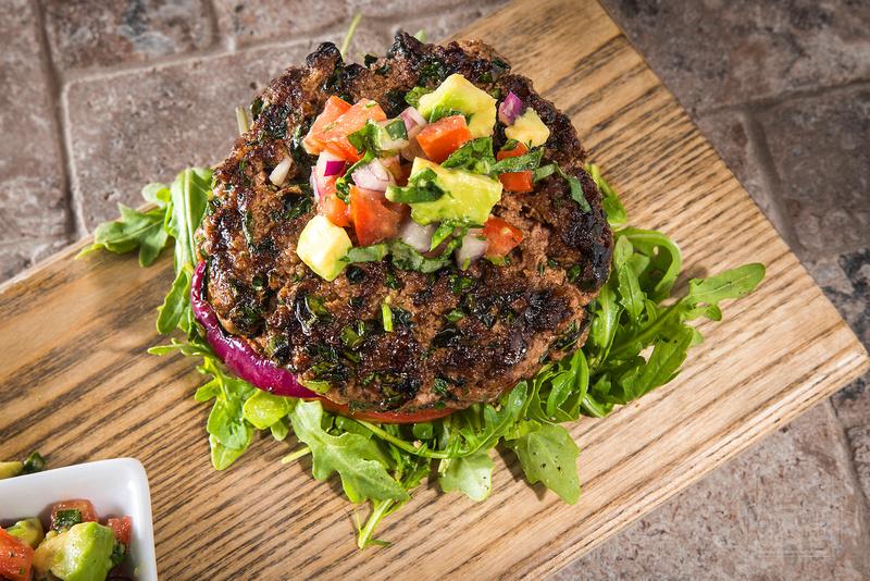 Herb Burger with Fresh Avocado Salsa - a bunless burger!